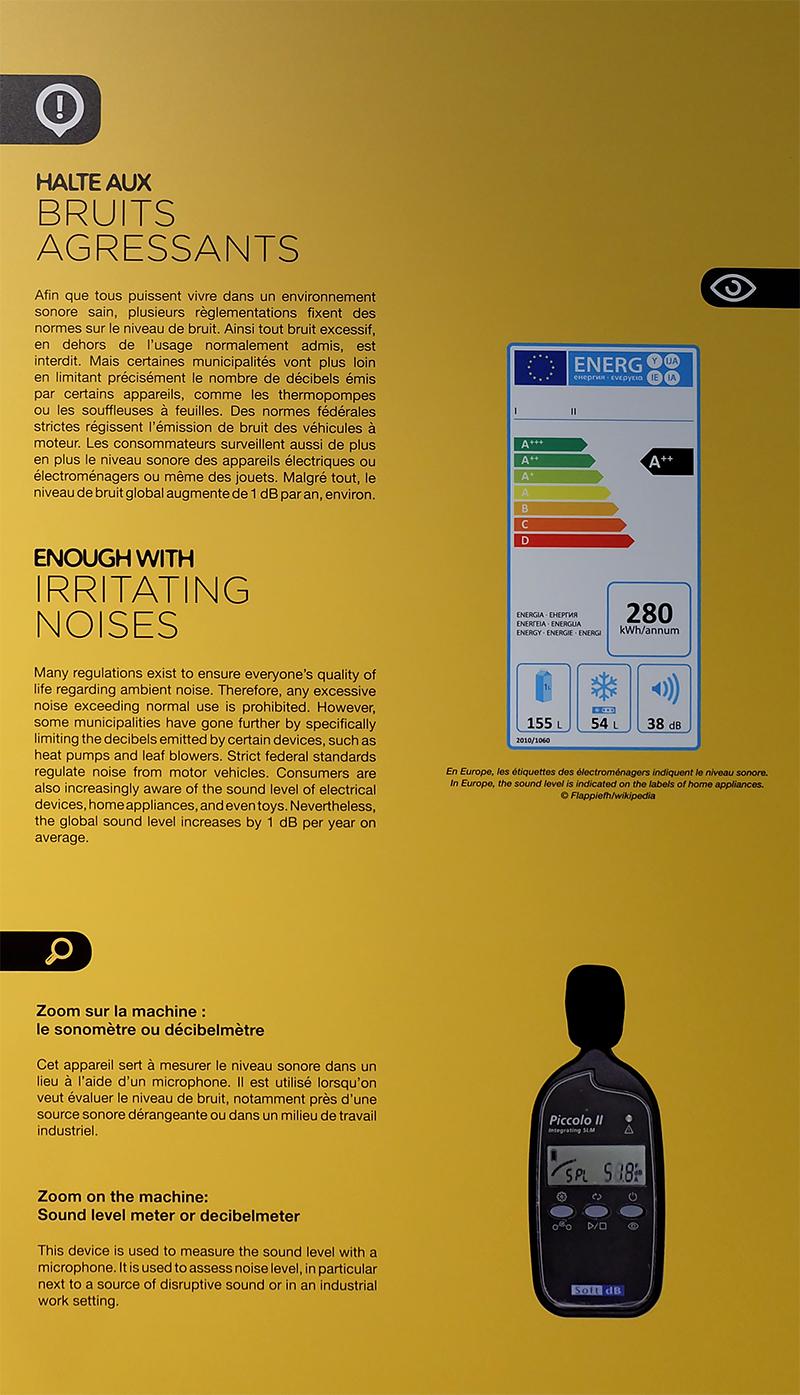 Sonomètre Piccolo 2 à l'exposition SON, QUE DU SON!